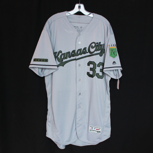 Photo of Game-Used Jersey: Brian Flynn (Size 50 - KC @ TEX - 5/27/18)