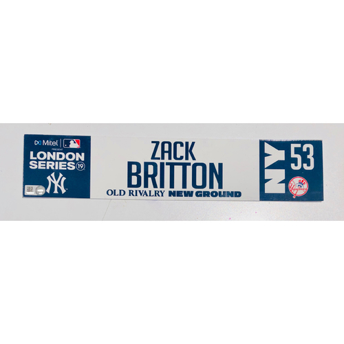Photo of 2019 London Series - Game Used Locker Tag - Zack Britton, New York Yankees vs Boston Red Sox - 6/30/2019
