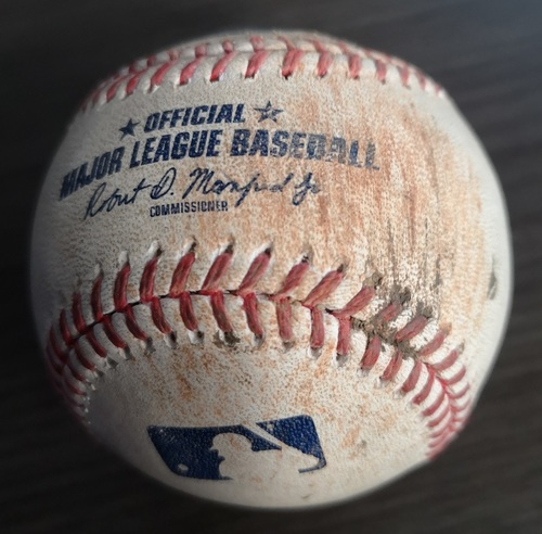 Photo of Authenticated Game Used Baseball: Single by Bo Bichette against Framber Valdez (Aug 31, 19 vs HOU). Bottom 4. Also Derek Fisher Strikeout.