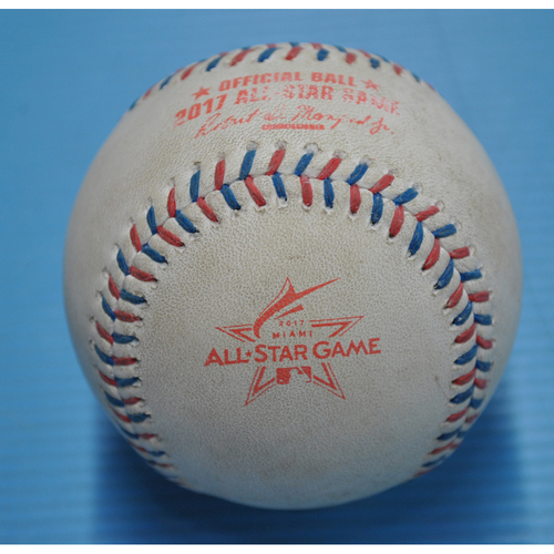 Photo of Game-Used Baseball - 2017 All-Star Game - Pitcher - Dellin Betances, Batter - Bryce Harper - Swinging Strike, Blocked - Bottom 3