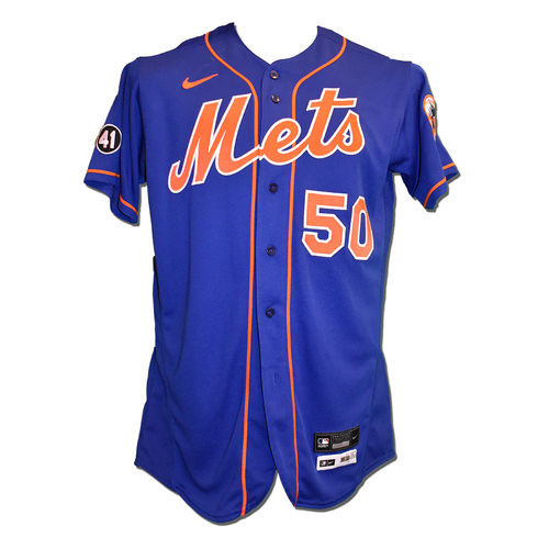 Photo of Miguel Castro #50 - Team Issued Blue Alt. Home Jersey with Seaver Patch - 2020 Season