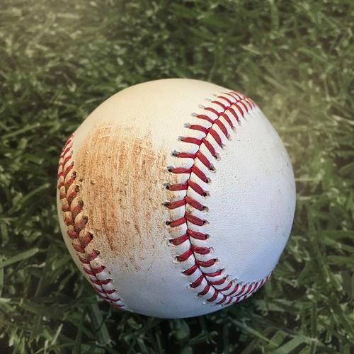Photo of Game-Used Baseball KC@MIL 09/18/20 - Scott Blewett - Orlando Arcia: Double
