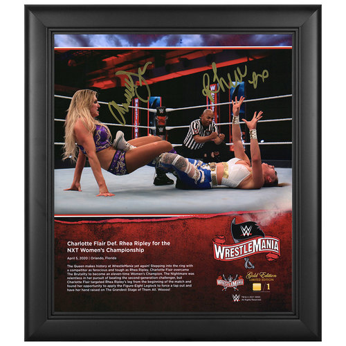 Charlotte Flair and Rhea Ripley SIGNED WrestleMania 36 WrestleMania Gold Edition Plaque (#1 of 1)