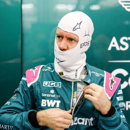 Photo of Sebastian Vettel 2021 Framed Signed Race-worn Balaclava - Spanish GP