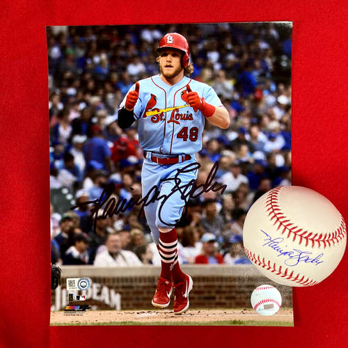 Photo of Harrison Bader Autographed Baseball and Photo