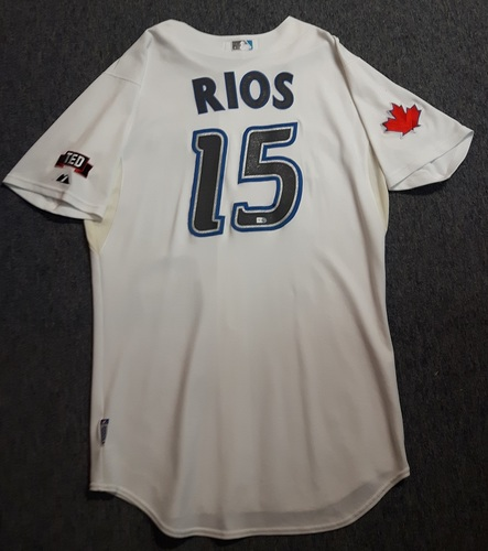 Photo of Authenticated Game Used Jersey - #15 Alex Rios (April 8, 2009). Rios went 1-for-3 with 1 Walk. Jersey is Size 48.