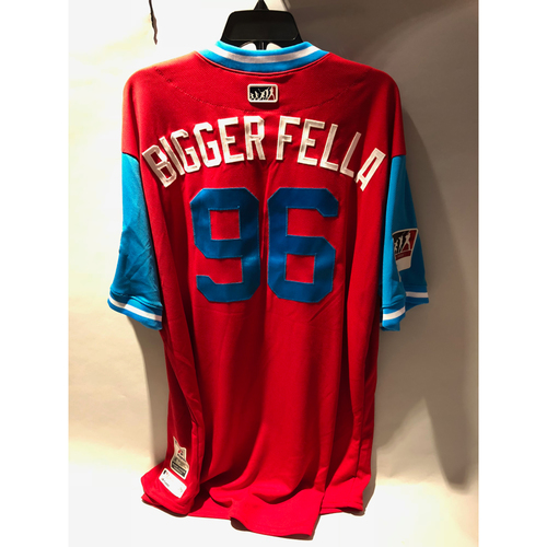 "Photo of Philadelphia Phillies 2018 Little League Classic Game-Used Jersey - Tommy ""Bigger Fella"" Hunter - 8/19/2018"