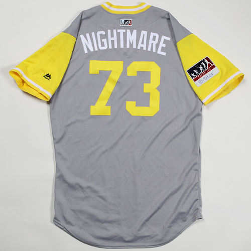 "Photo of Felipe ""Nightmare"" Vazquez Pittsburgh Pirates Game-Used Jersey 2018 Players' Weekend Jersey"