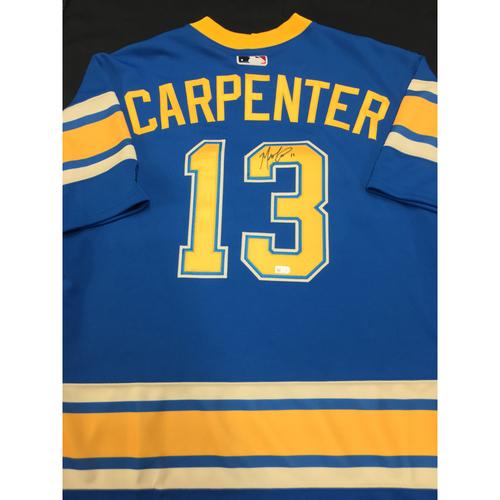 Photo of Matt Carpenter Autographed Team-Issued 2017 St. Louis Blues Themed Cardinals Jersey