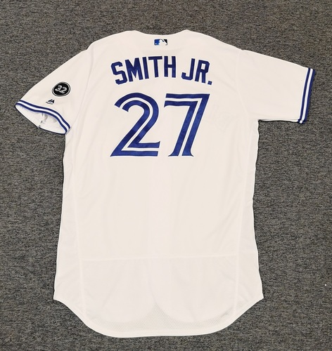 Photo of Authenticated Game Used Jersey - #27 Dwight Smith Jr. (July 23, 2018: 0-for-3 with 1 BB). Size 46.