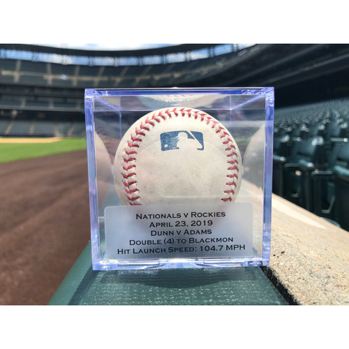 Photo of Game Used Baseball: Pitcher: Mike Dunn, Batter: Matt Adams (Double)- 4-23-2019 vs. WAS