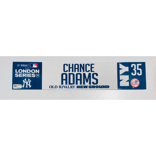 2019 London Series - Game Used Locker Tag - Chance Adams, New York Yankees vs Boston Red Sox - 6/30/2019