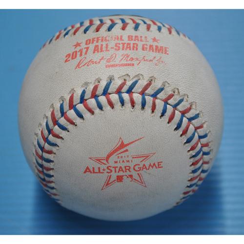 Photo of Game-Used Baseball - 2017 All-Star Game - Pitcher - Craig Kimbrel, Batter - Yadier Molina - Walk - Bottom 9