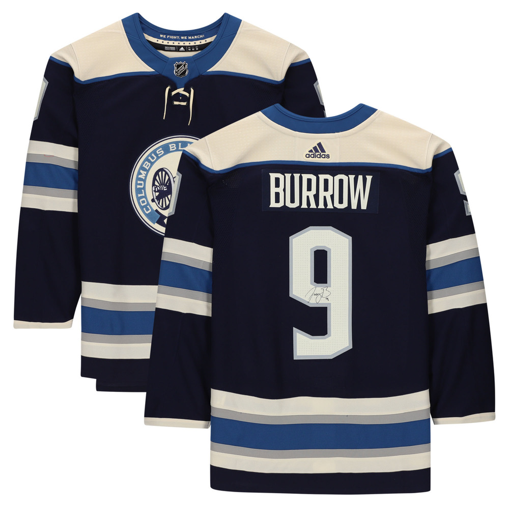 Joe Burrow Cincinnati Bengals Autographed Columbus Blue Jackets Navy Alternate Adidas Authentic Jersey - NHL Auctions Exclusive
