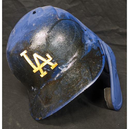 "Photo of Enrique ""Kiké"" Hernandez Team-Issued 2019 Helmet - Postseason Sticker NOT MLB Authenticated"