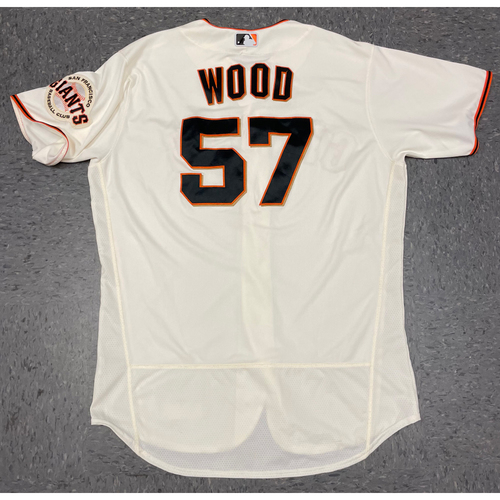 Photo of 2021 Game Used Home Cream Jersey worn by #57 Alex Wood on 4/28 vs. COL (WIN) & 8/15 vs. COL (WIN) - Size 48