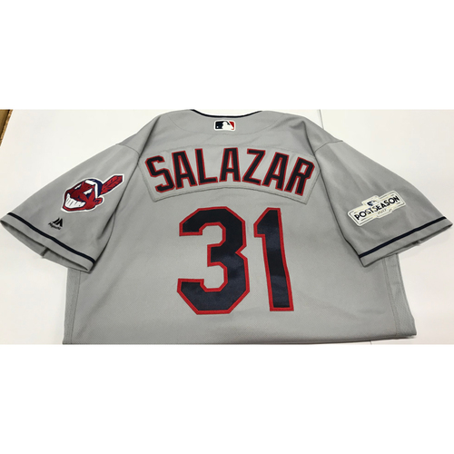 Photo of Danny Salazar Team-Issued 2017 Postseason Road Jersey
