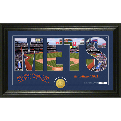"""Photo of Serial #1! New York Mets """"Silhouette"""" Panoramic Bronze Coin Photo Mint"""