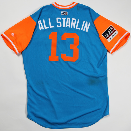 "Photo of Starlin ""All Starlin"" Castro Miami Marlins Game-Used Jersey 2018 Players' Weekend Jersey"