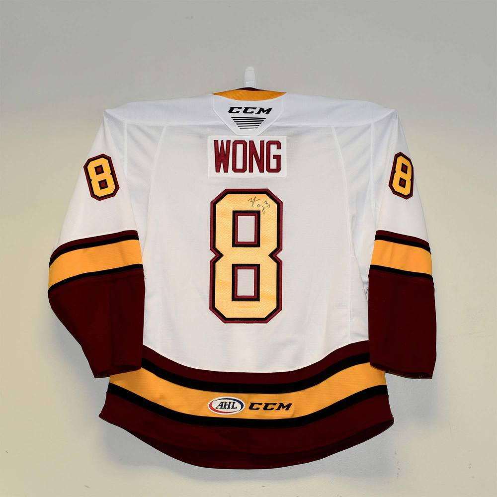 Chicago Wolves 2019 Calder Cup Finals Game 1 Jersey Issued to and Signed by #8 Tyler Wong