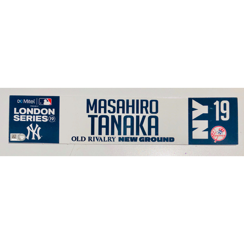 2019 London Series - Game Used Locker Tag - Masahiro Tanaka, New York Yankees vs Boston Red Sox - 6/30/2019