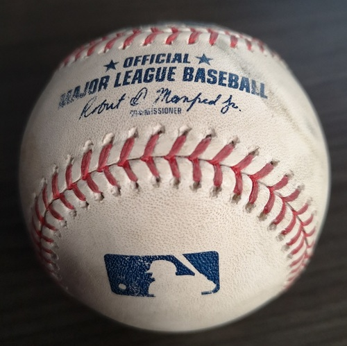 Photo of Authenticated Game Used Baseball: Walk by Cavan Biggio against Justin Verlander (Sep 1, 19 vs HOU). Bottom 1. Justin Verlander's 3rd Career No Hitter. Only Blue Jay Base Runner of the Game.