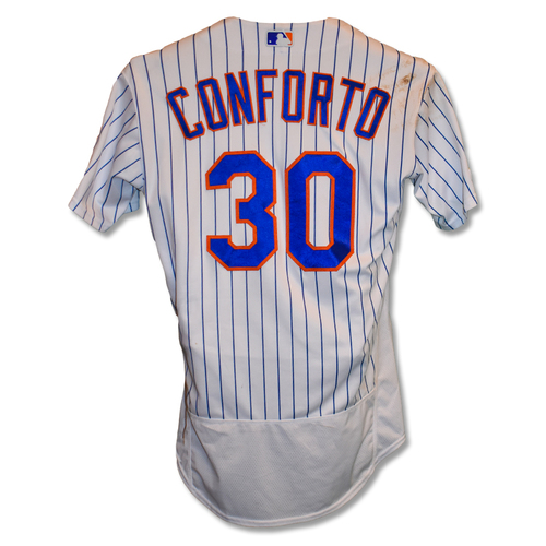 Photo of Michael Conforto #30 - Game-Used White Pinstripe Jersey - 2-4, RBI - Mets vs. Padres - 7/25/19