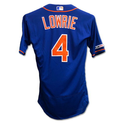Photo of Jed Lowrie #4 - Alonso Ties Single Season Rookie HR Record - Game-Used Blue Alt. Home Jersey - Mets vs. Braves - 9/27/19