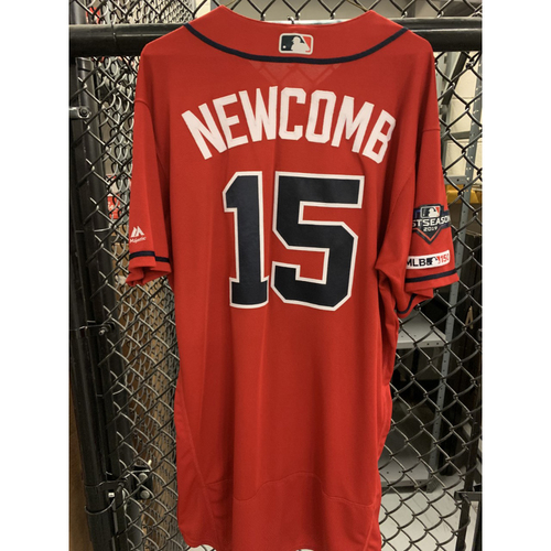 Photo of Sean Newcomb Game Used Playoff Jersey - Worn 9/20/19 Braves Clinch NL East and 10/4/19 - Size 48