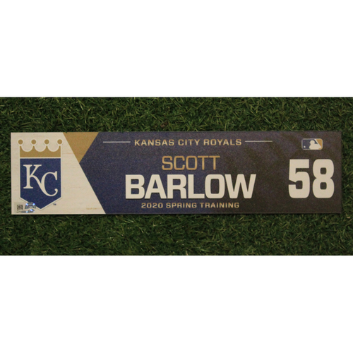 Photo of Game-Used Spring Training Locker Tag: Scott Barlow #58
