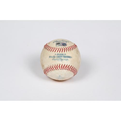 Photo of Game-Used Baseball: Pitcher: Trevor Bauer, Batters: David Fletcher/Shohei Ohtani - Flyout/Foul - Bot 1 - 5/09/21 - vs. LAD