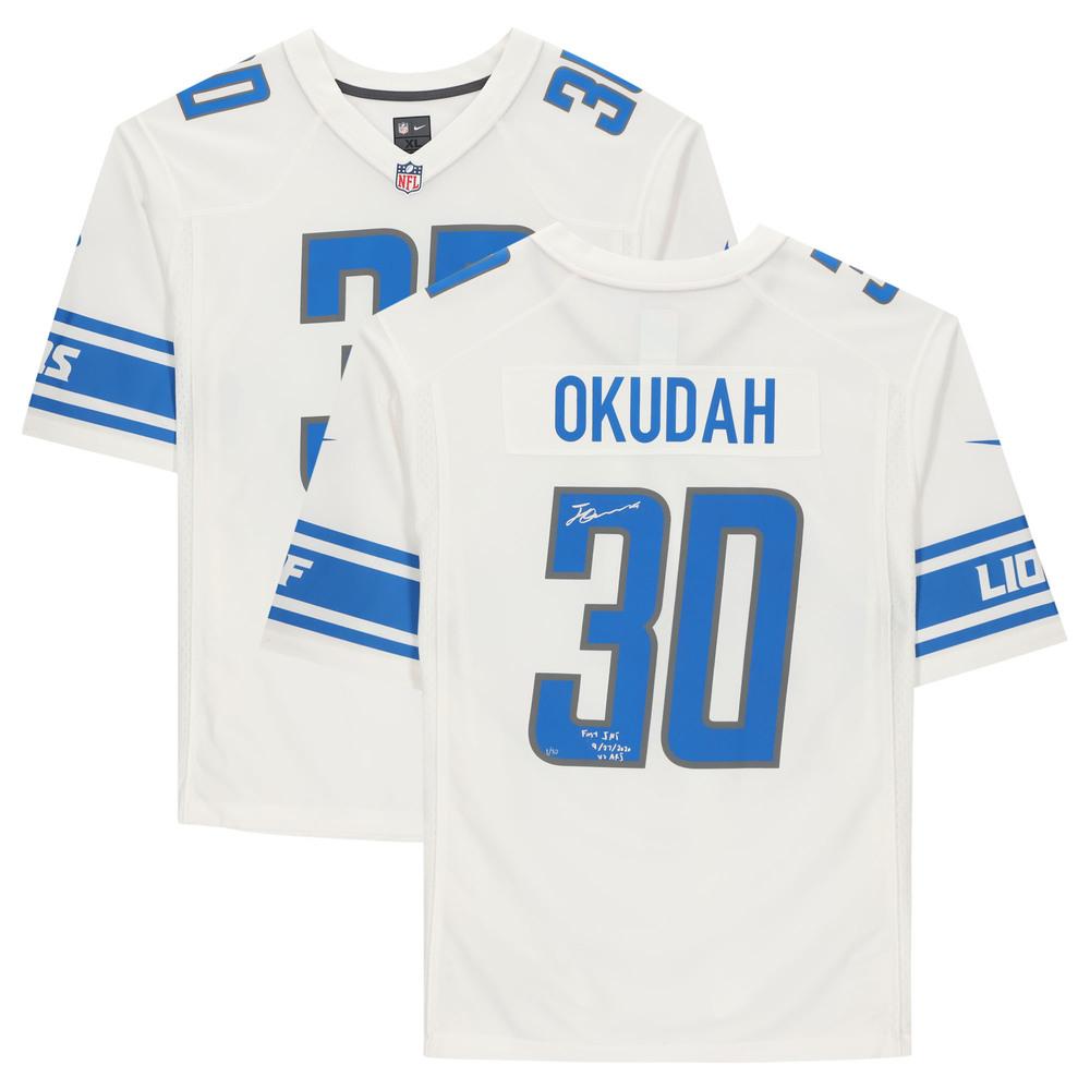 Jeff Okudah Detroit Lions Signed & Inscribed Jersey with