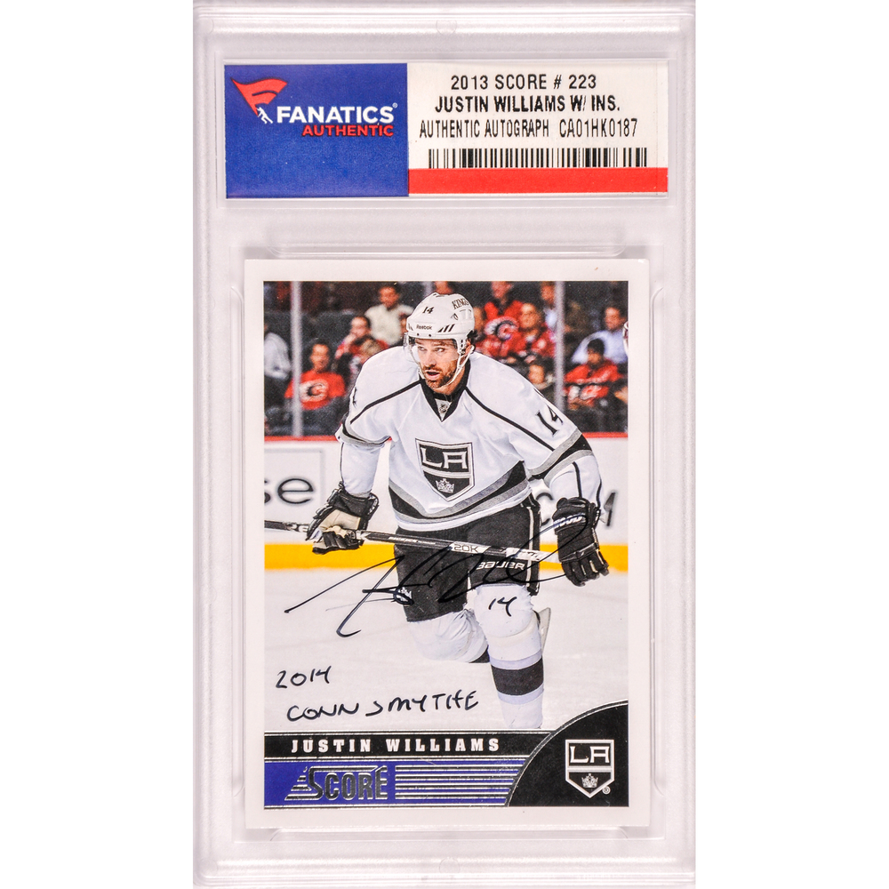 Justin Williams Los Angeles Kings Autographed 2013 Score #223 Card with 2014 Conn Smythe Inscription