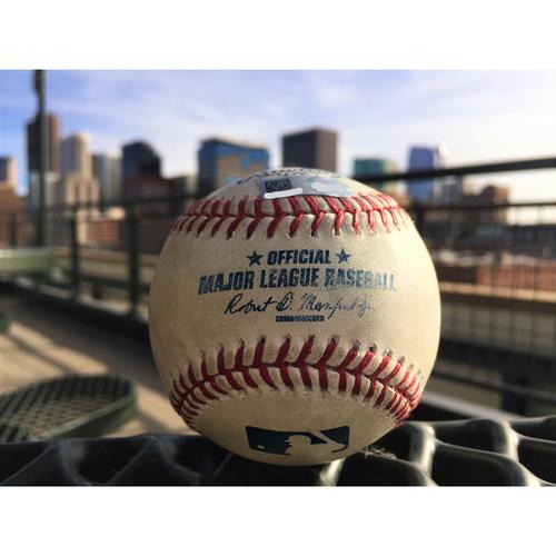 Photo of Colorado Rockies Charlie Blackmon Game-Used Baseball - Triple