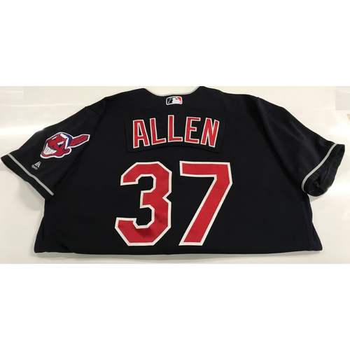 Photo of Cody Allen Game-Used 2018 Opening Day Jersey (Road 3/29 @ SEA & Home 4/6 vs. KC)