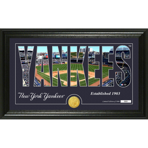 """Photo of Serial #1! New York Yankees """"Silhouette"""" Panoramic Bronze Coin Photo Mint"""
