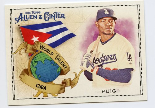 Photo of 2018 Topps Allen and Ginter World Talent #WT10 Yasiel Puig