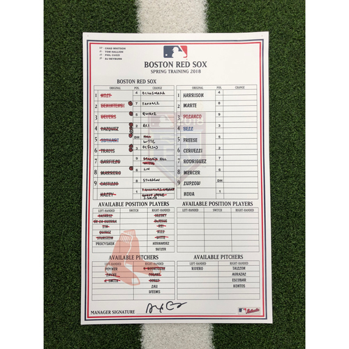 Photo of Red Sox Foundation - Spring Training Line-Up Card @ Pirates - 2-26-18 - Not MLB Authenticated