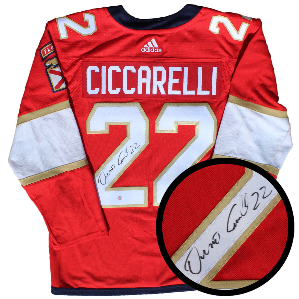 Dino Ciccarelli Signed Jersey Panthers Pro Red 2017-2019 Adidas