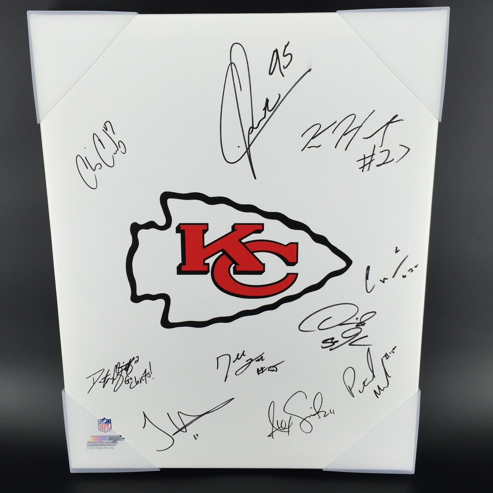 Nfl Auction Chiefs Signed 11 X14 Chiefs Logo Canvas