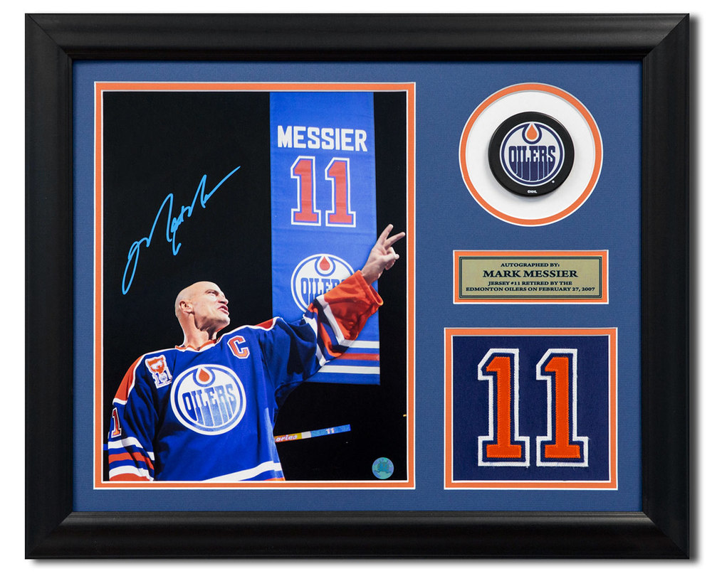 Mark Messier Edmonton Oilers Autographed Retired Jersey Number 19x23 Frame