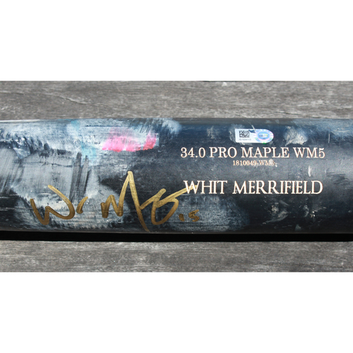 Photo of Game-Used and Autographed Broken Bat: Whit Merrifield - MLB Japan All-Star Series (MLB @ NPB - 11/11/2018)
