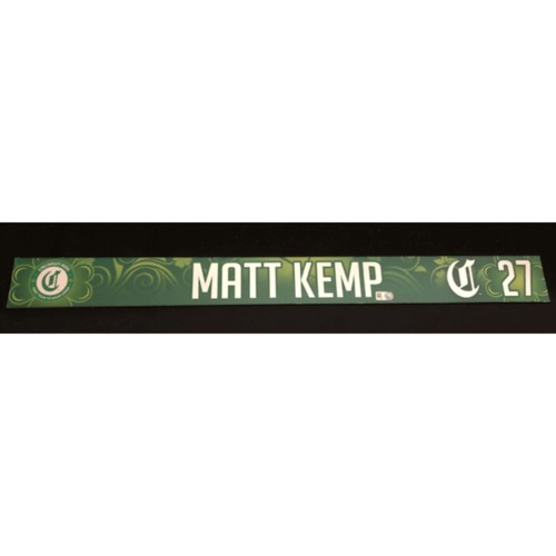 Photo of Matt Kemp -- Game-Used Locker Name Plate -- 2019 St. Patrick's Day