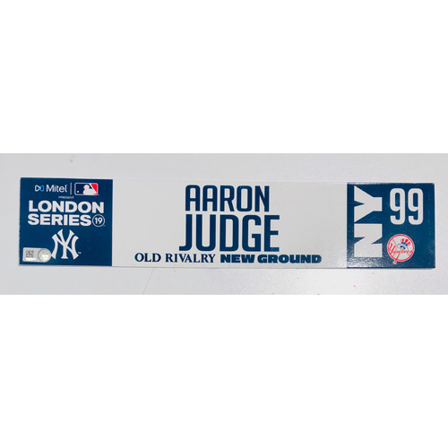 Photo of 2019 London Series - Game Used Locker Tag - Aaron Judge, New York Yankees vs Boston Red Sox - 6/30/2019