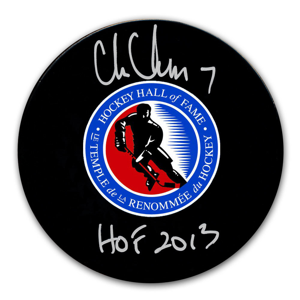 Chris Chelios Hockey Hall of Fame HOF Autographed Puck