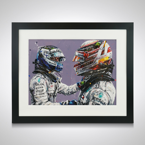 Photo of Lewis Hamilton & Valtteri Bottas Framed Print - Paul Oz