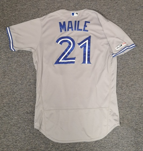 Photo of Authenticated Game Used Jersey: #21 Luke Maile (Apr 5, 19 vs CLE: 0-for-3). Size 46