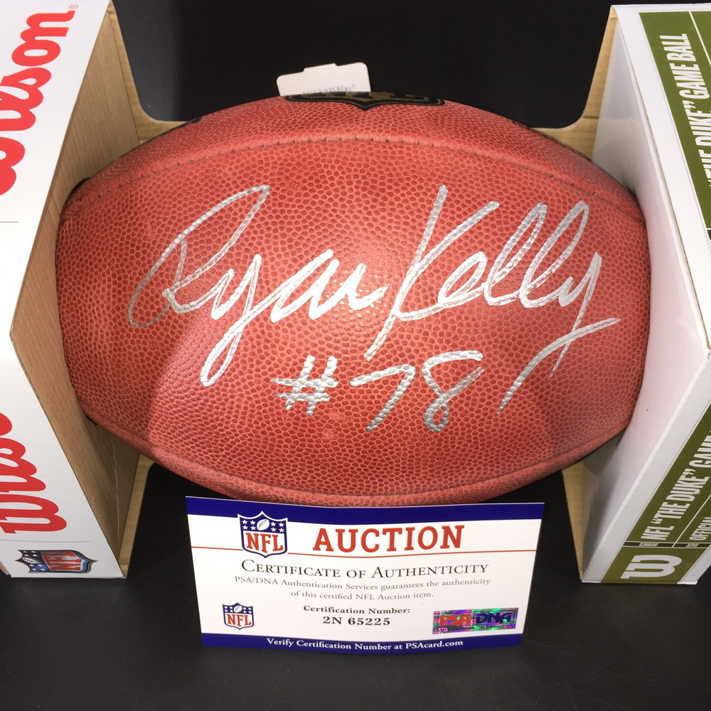 NFL - Colts Ryan Kelly Signed Authentic Football w/ 100 Seasons Logo