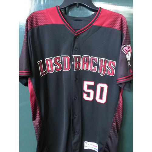 Photo of Yoan López Game-Used Los D-backs Jersey, Size 44 -- 9/28/19 vs. Padres