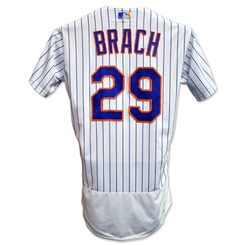 Photo of Brad Brach #29 - Game Used White Pinstripe Jersey with Seaver Patch - Mets vs. Rays - 9/23/20